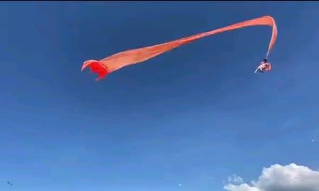 巨大凧揚げでの恐怖、絡まった女児が空高く飛ばされてしまう