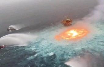 海が燃えたから消火作業???海底油田が爆発するとこんな感じ