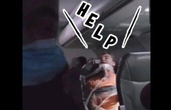 強すぎる客室乗務員、厄介な乗客をぐるぐる巻きに